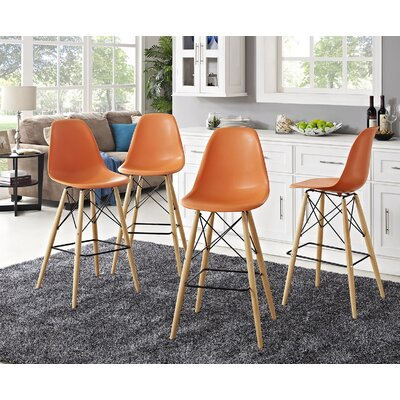 Pyramid 29.5 Bar Stool Seat Color: Orange