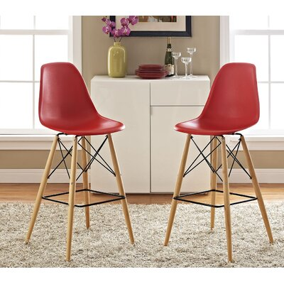Pyramid 29.5 Bar Stool Seat Color: Red