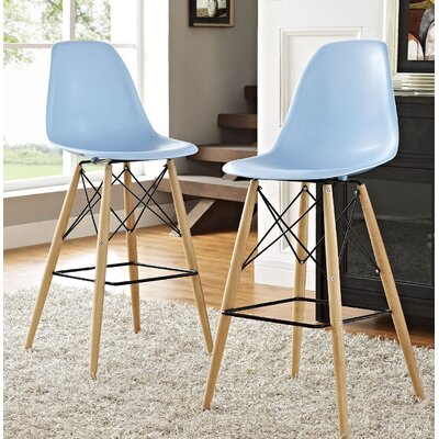 Pyramid 29.5 Bar Stool Seat Color: Light Blue