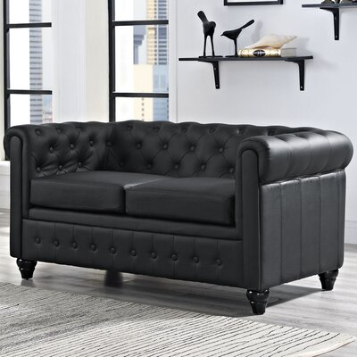 Earl Chesterfield Loveseat Color: Black