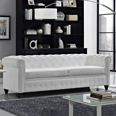Earl Chesterfield Sofa Color: White