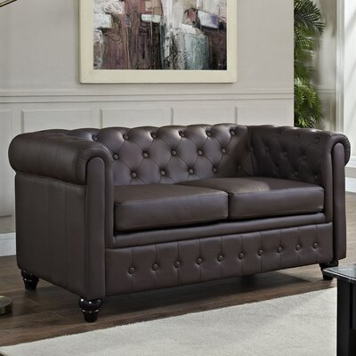 Earl Chesterfield Loveseat Finish: Brown