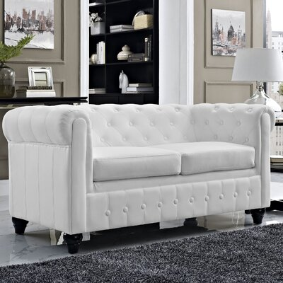 Earl Chesterfield Loveseat Finish: White