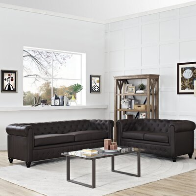 Earl 2 Piece Living Room Set Upholstery: Brown