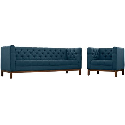 Panache 2 Piece Living Room Set Upholstery: Azure