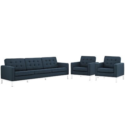 Gayatri 3 Piece Living Room Set Upholstery: Azure