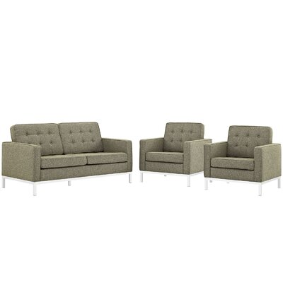 Gayatri 3 Piece Steel Living Room Set Upholstery: Oatmeal