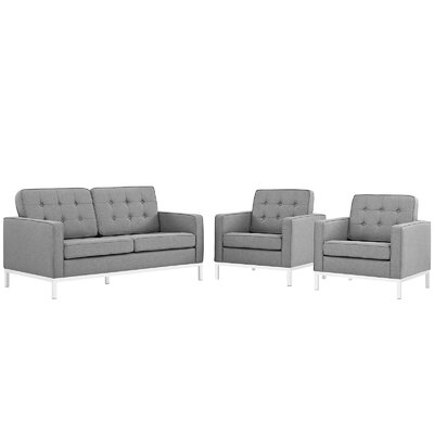 Loft 3 Piece Living Room Set Upholstery: Light Gray