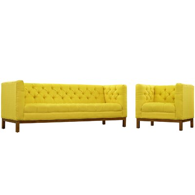 Panache 2 Piece Fabric Living Room Set Upholstery: Sunny