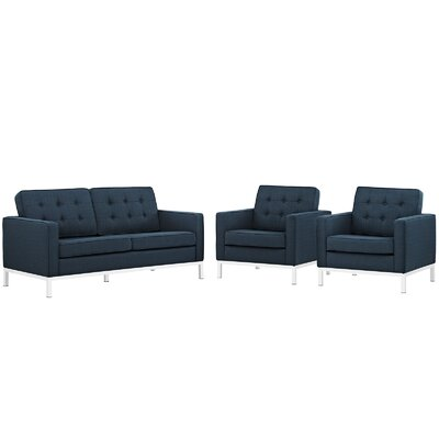 Loft 3 Piece Living Room Set Upholstery: Azure