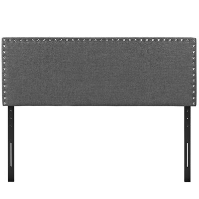 Preiss Solid Wood Upholstered Panel Headboard Size: King, Upholstery: Gray