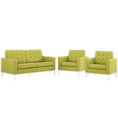 Gayatri 3 Piece Steel Living Room Set Upholstery: Wheatgrass