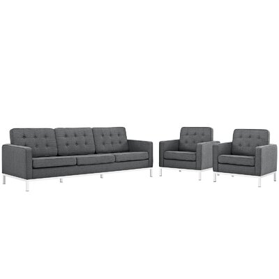 Gayatri 3 Piece Living Room Set Upholstery: Gray