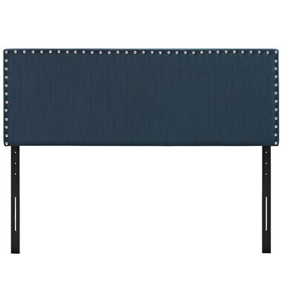 Preiss Solid Wood Upholstered Panel Headboard Size: Full, Upholstery: Azure