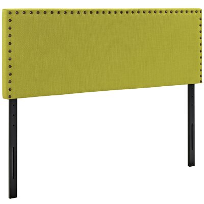 Preiss Solid Wood Upholstered Panel Headboard Size: King, Upholstery: Wheatgrass