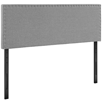 Preiss Solid Wood Upholstered Panel Headboard Size: King, Upholstery: Light Gray