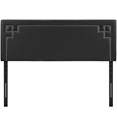 Josie Upholstered Panel Headboard Size: Full, Upholstery: Black