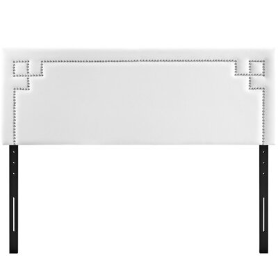 Josie Upholstered Panel Headboard Upholstery: White, Size: King