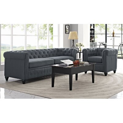 Earl 2 Piece Living Room Set Upholstery: Gray