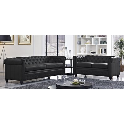 Earl 2 Piece Living Room Set Upholstery: Black