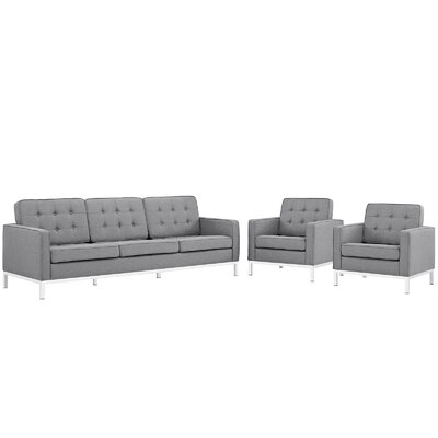 Gayatri 3 Piece Living Room Set Finish: Light Gray