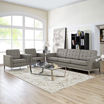 Gayatri Contemporary 3 Piece Living Room Set Finish: Granite