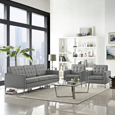 Gayatri Contemporary 3 Piece Living Room Set Finish: Light Gray