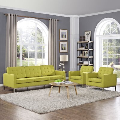 Gayatri Contemporary 3 Piece Living Room Set Finish: Wheatgrass
