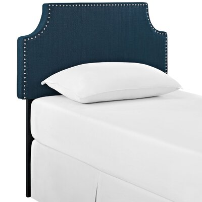 Preciado Solid Wood Upholstered Panel Headboard Size: Twin, Upholstery: Azure
