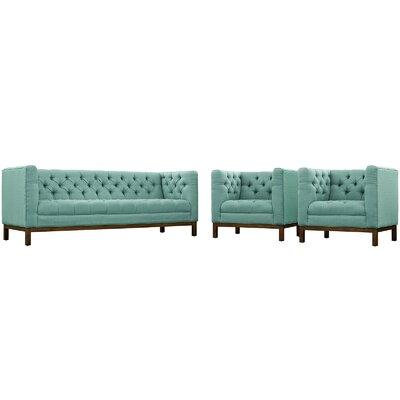 Panache 3 Piece Living Room Set Upholstery: Laguna