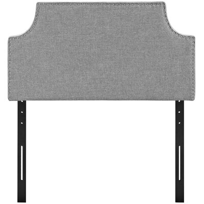Preciado Solid Wood Upholstered Panel Headboard Size: Twin, Upholstery: Light Gray