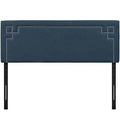 Josie Upholstered Panel Headboard Upholstery: Azure, Size: Queen