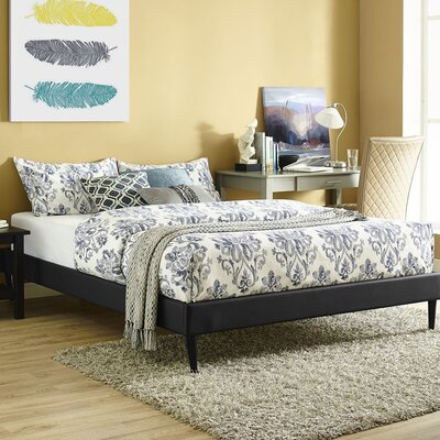 Platform Bed Size: Queen, Color: Black