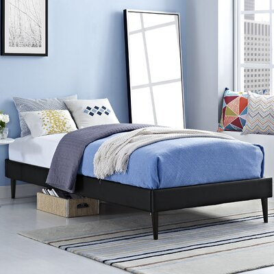 Platform Bed Size: Twin, Color: Black