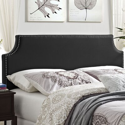Preciado Solid Wood Frame Upholstered Panel Headboard Upholstery: Black, Size: Full