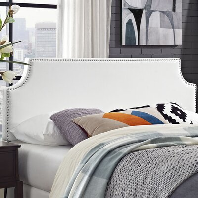 Preciado Solid Wood Frame Upholstered Panel Headboard Size: Queen, Upholstery: White