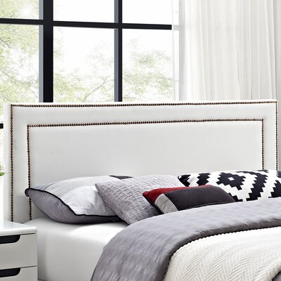 Eyre Upholstered Panel Headboard Size: King, Upholstery: White
