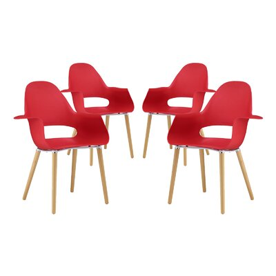 Soar Solid Wood Dining Chair Finish: Red