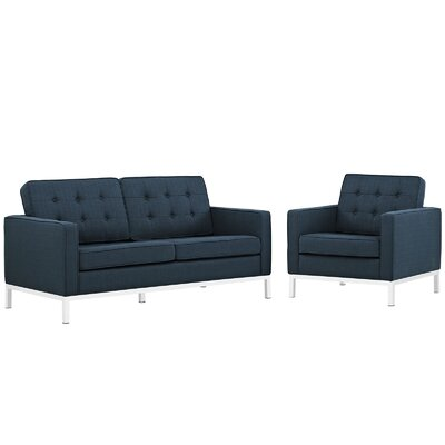 Gayatri 2 Piece Living Room Set Upholstery: Azure
