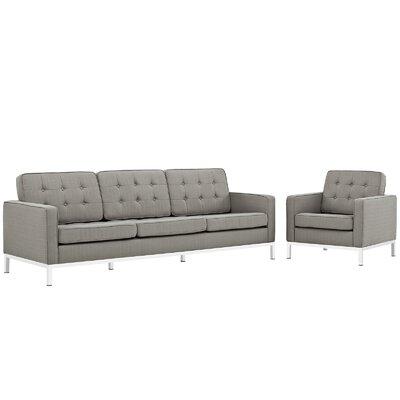 Gayatri 2 Piece Living Room Set Upholstery: Granite
