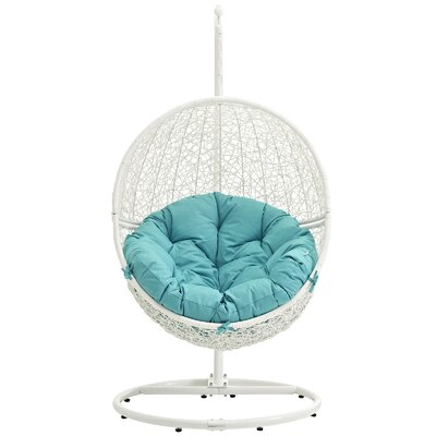 Cloak Swing Chair Color: White/Turquoise