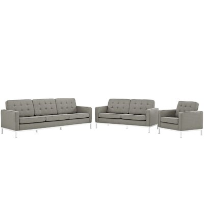 Gayatri 3 Piece Living Room Set Upholstery: Granite