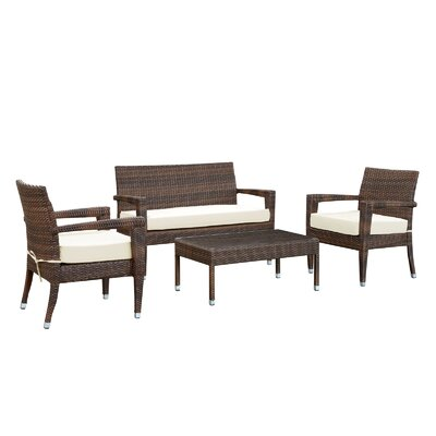 Magatama 4 Piece Lounge Seating Group with Cushions