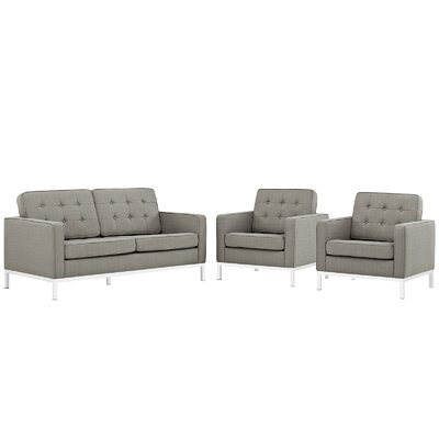 Loft 3 Piece Living Room Set Upholstery: Granite