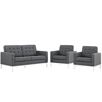 Gayatri 3 Piece Steel Living Room Set Upholstery: Gray