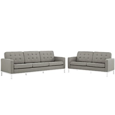 Gayatri 2 Piece Living Room Set Upholstery: Granite
