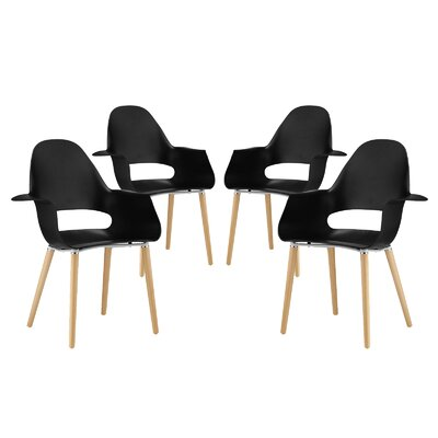 Soar Solid Wood Dining Chair Color: Black
