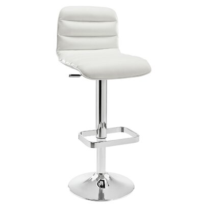 Kizzy Modern Adjustable Height Swivel Bar Stool Upholstery: White