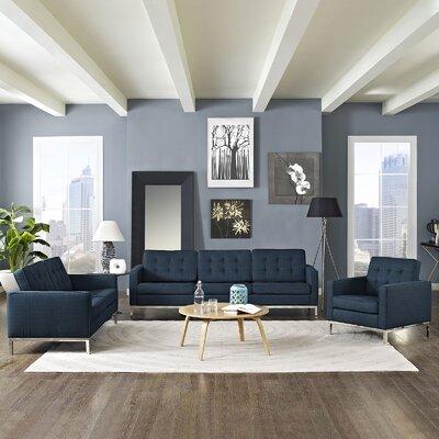 Gayatri Modern 3 Piece Living Room Set Upholstery: Azure