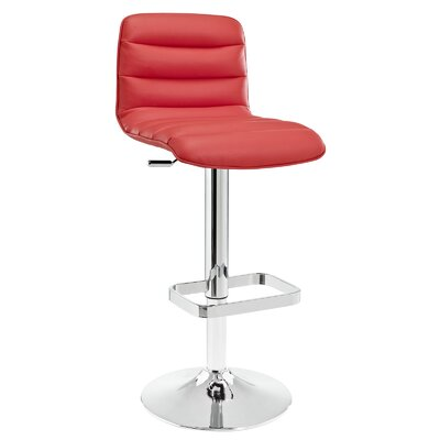 Ripple Adjustable Height Swivel Bar Stool Upholstery: Red